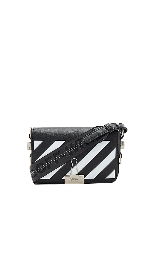 OFF-WHITE Diagonal Square Mini Flap Bag in Black