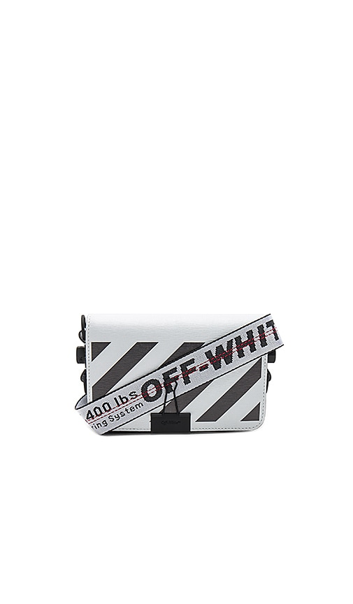 OFF-WHITE Diagonal Square Mini Flap Bag in White