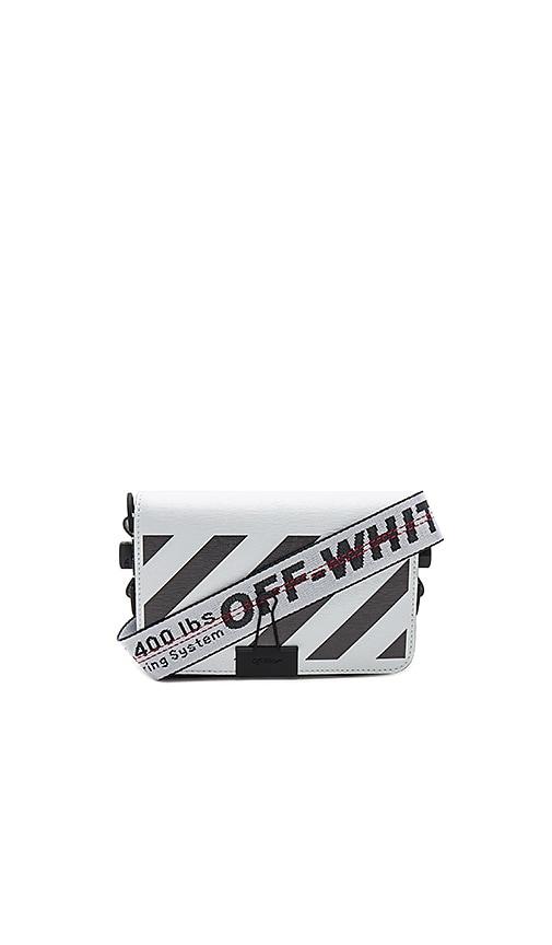 8eaffecf089be OFF-WHITE Diagonal Square Mini Flap Bag in White   Black
