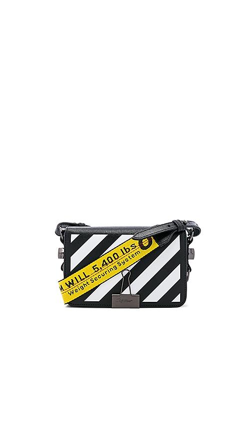 OFF-WHITE Diagonal Mini Flap Bag in Black