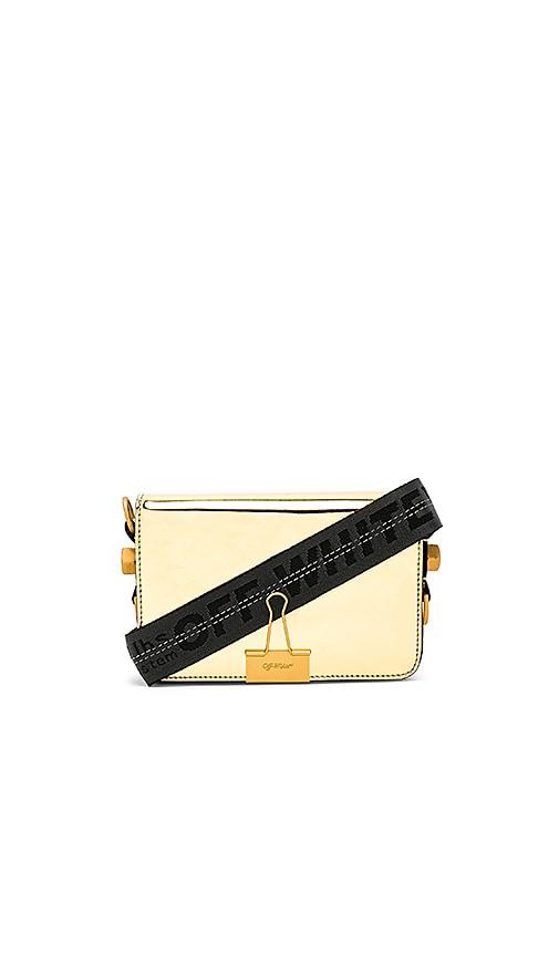OFF-WHITE Mirror Mini Flap Bag in Metallic Gold