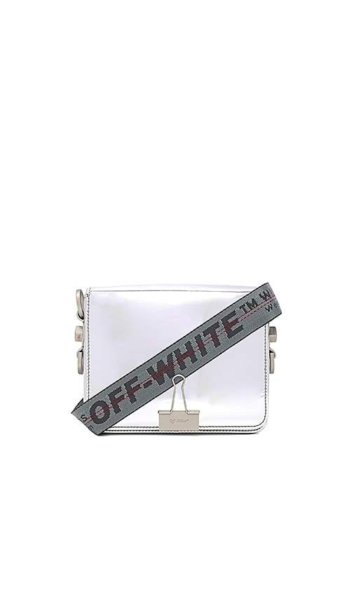 OFF-WHITE Flap Bag in Metallic Silver