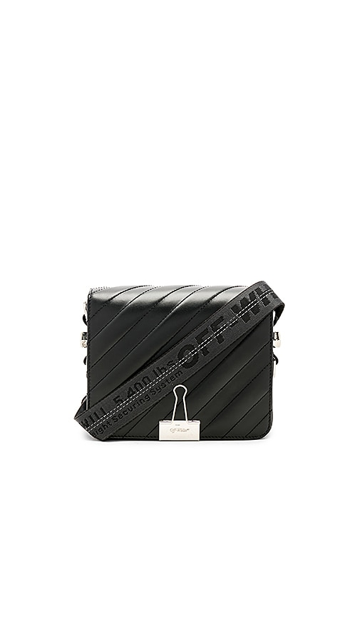 OFF-WHITE Diagonal Padded Flap Bag in Black