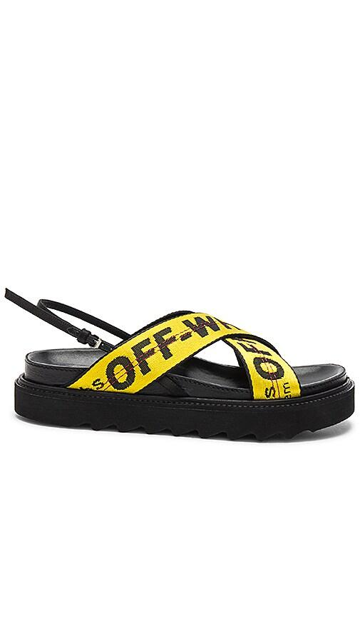 791943b051c48 OFF-WHITE Industrial Belt Sandal in Black & Yellow | REVOLVE