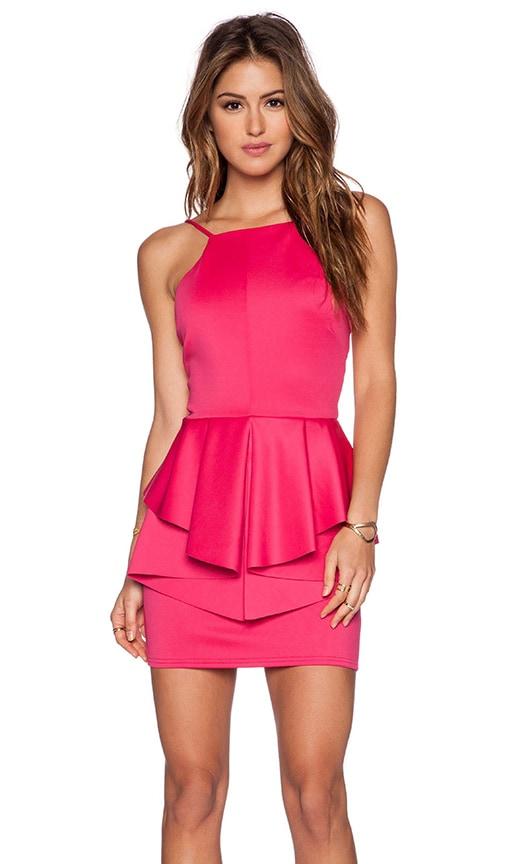 OH MY LOVE Peplum Mini Dress in Pink