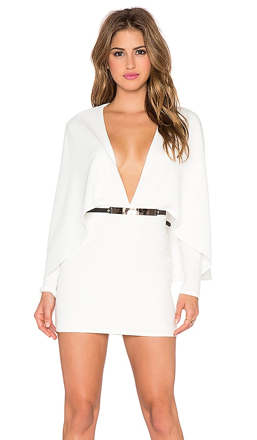 OH MY LOVE My Girl White Cape Mini Dress in White
