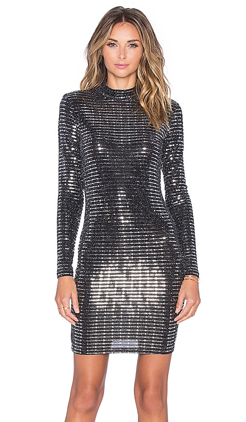 OH MY LOVE All Shook Up Bodycon Dress in Black & Silver