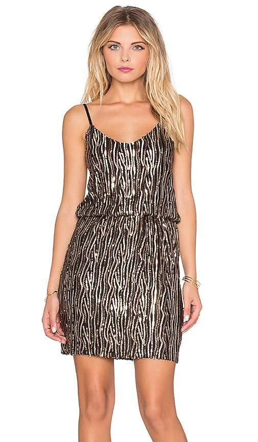 OH MY LOVE Stayin' Alive Sequin Dress in Gold
