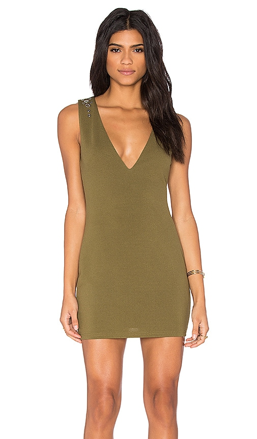OH MY LOVE Plunge Stud Dress in Army