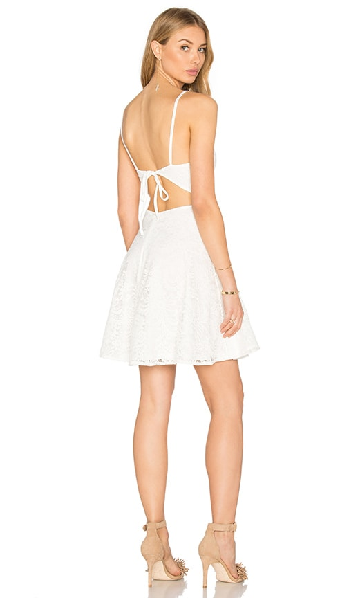 OH MY LOVE Lace Plunge Skater Dress in White