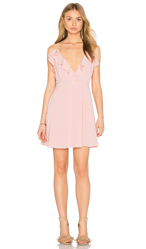 OH MY LOVE Frill Front Skater Dress in Pink