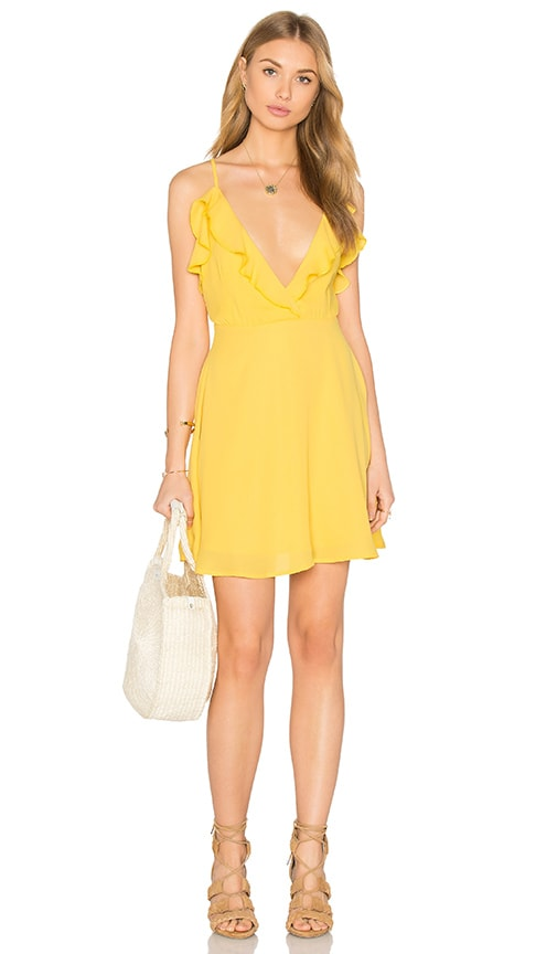 OH MY LOVE Frill Front Skater Dress in Yellow