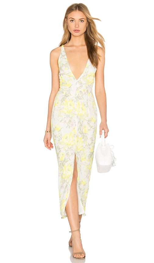 OH MY LOVE Maxi Plunge Dress in Yellow