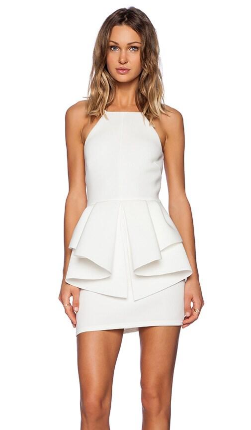 OH MY LOVE Peplum Mini Dress in Ivory
