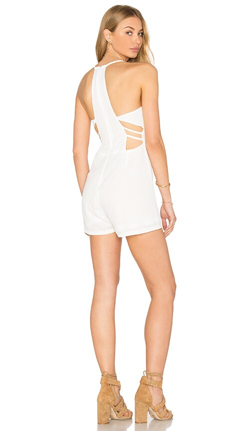 OH MY LOVE Side Strap Halter Romper in White