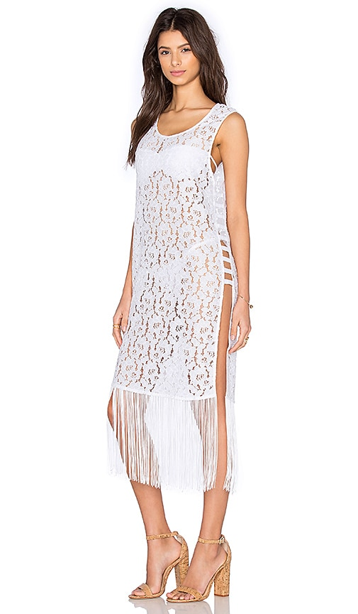 OLCAY GULSEN Lace Fringe Dress in White