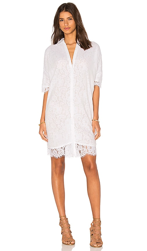 OLCAY GULSEN Georgette Covered Lace Shirt Dress in White