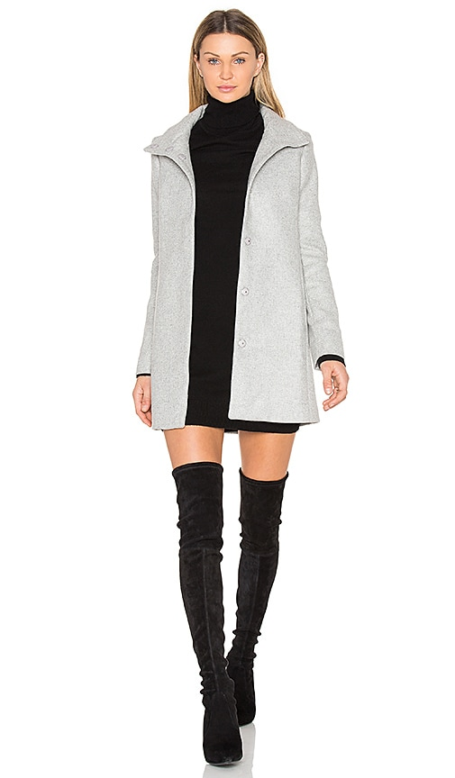 ST by OLCAY GULSEN A Line High Neck Coat in Grey