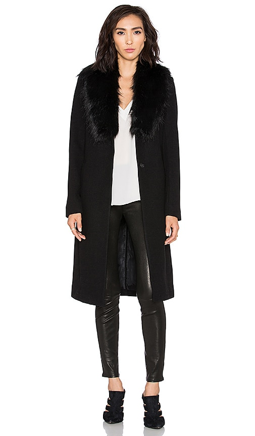 OLCAY GULSEN Orora Coat with Faux Fur Collar in Black