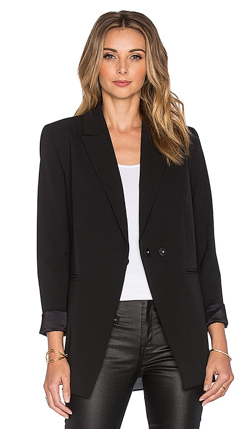 ST by OLCAY GULSEN Tailored Georgette Blazer in Black