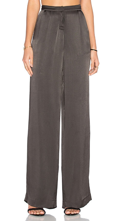 ST by OLCAY GULSEN Sheer Palazzo Pant in Charcoal