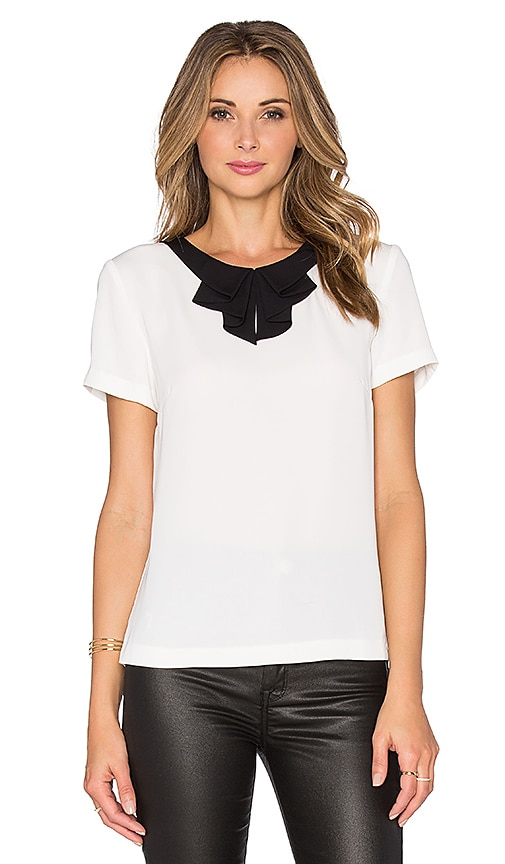 OLCAY GULSEN Bow Blouse in Off White & Black Tie