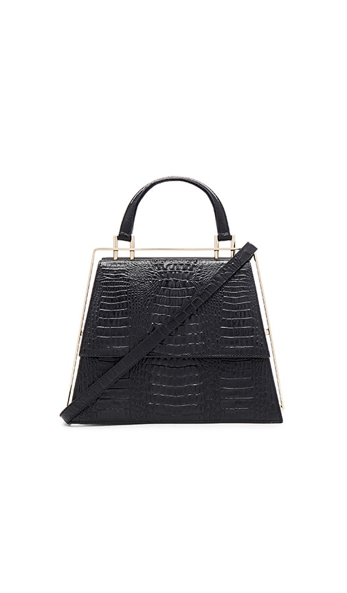 OLCAY GULSEN Medium Frame Bag in Black Croc