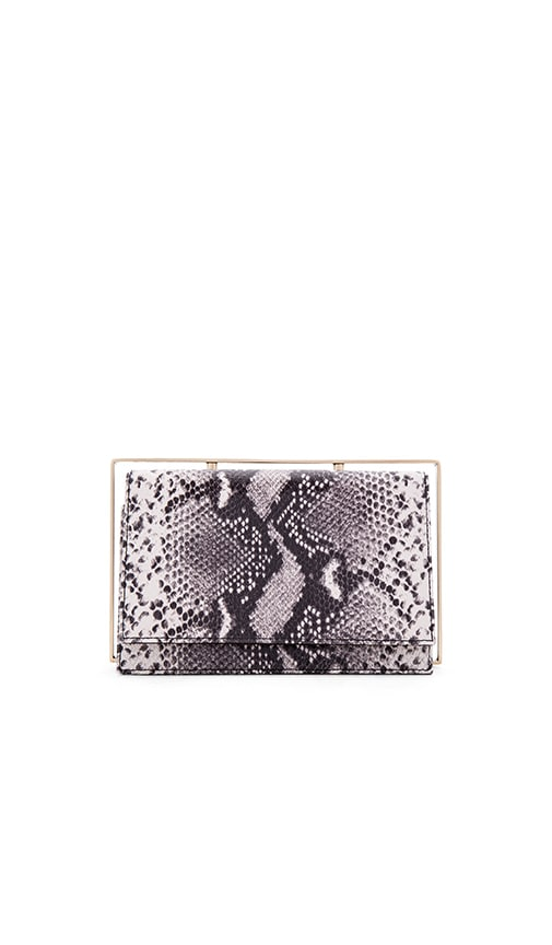 OLCAY GULSEN Frame Clutch in Black & White Snake
