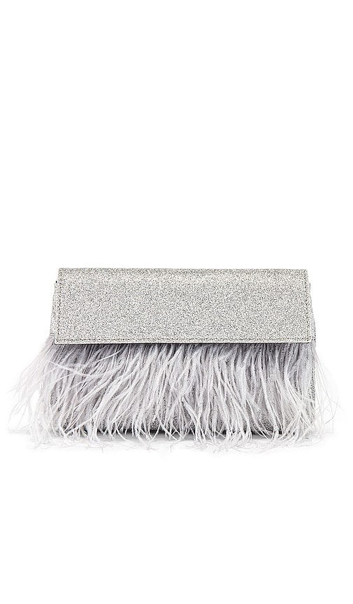 Mia Glitter Feather Trim Shoulder Bag