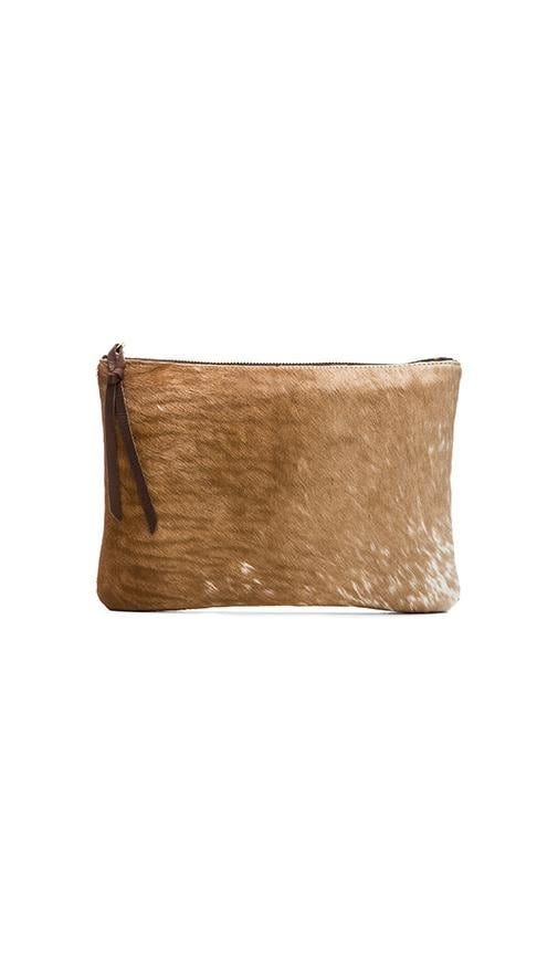 Oliveve Queenie Clutch in Natural Hair Calf