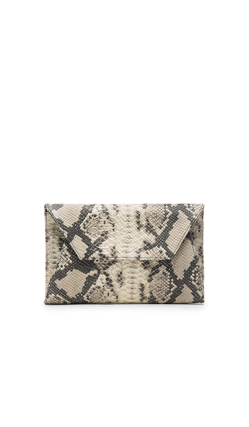 Oliveve Cleo Envelope Clutch in Grey Cobra