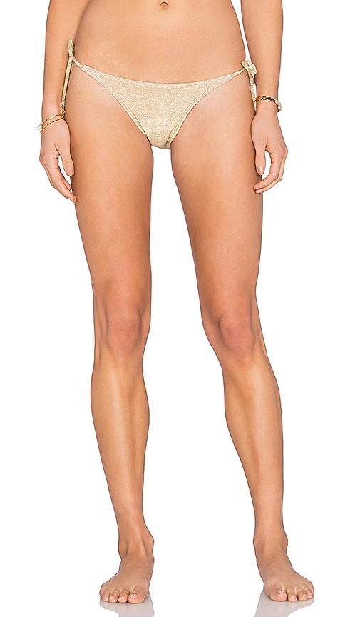 OndadeMar Side Tie Bikini Bottom in Metallic Gold