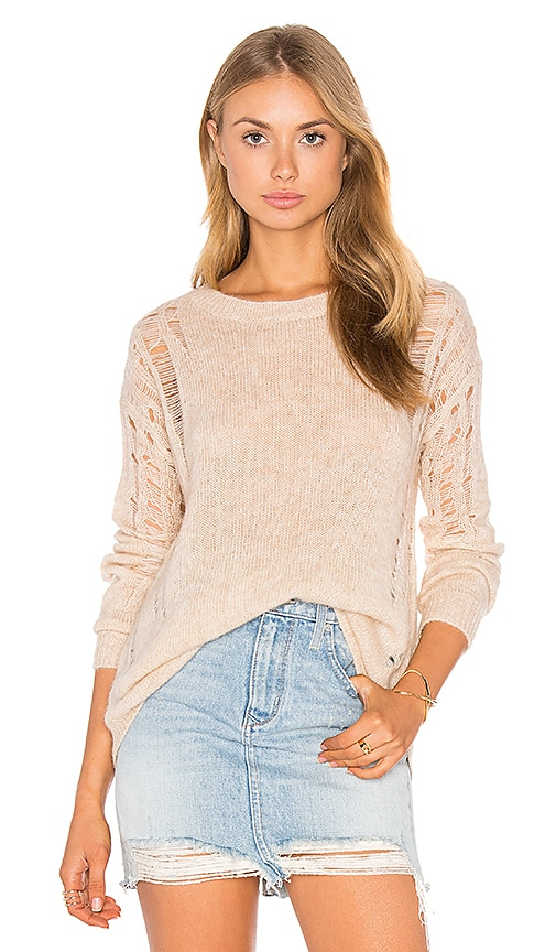 One Grey Day Cora Distressed Sweater in Tan
