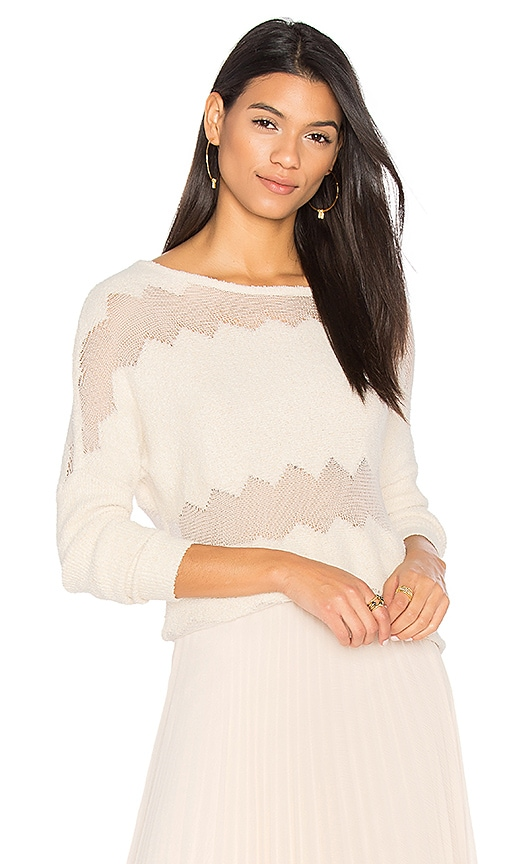 One Grey Day Rona Fringe Sweater in Ivory
