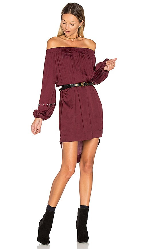 One Teaspoon San Cerena Shoulder Dress in Burgundy