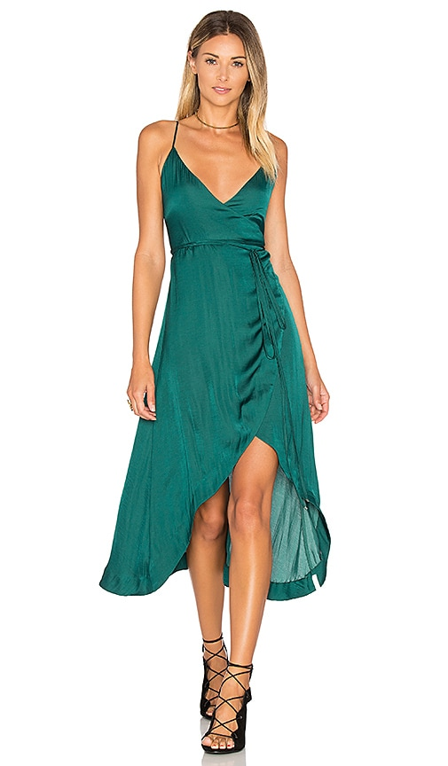One Teaspoon San Cerena Wrap Dress in Dark Green