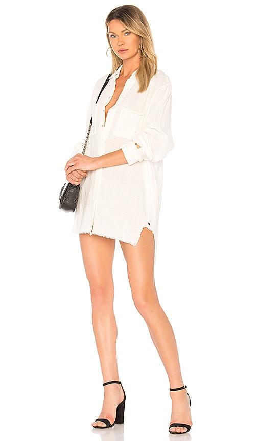 One Teaspoon Linen Drifter Shirt Dress in White
