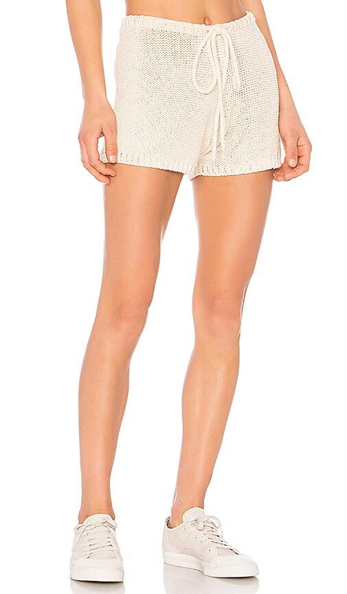 One Teaspoon Castaway Knitted Beach Shorts in Cream
