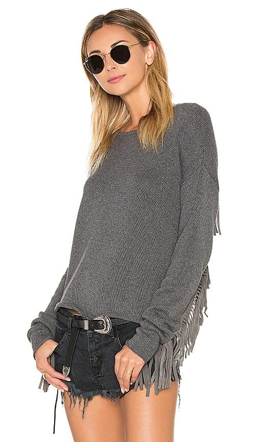 One Teaspoon Silver Lining Fringe Sweater in Grey Marle