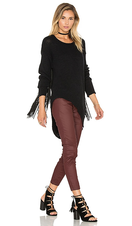 One Teaspoon Silver Sovereign Fringe Sweater in Black