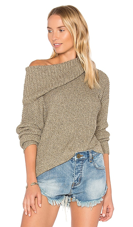 One Teaspoon Florence Roll Neck Sweater in Metallic Gold