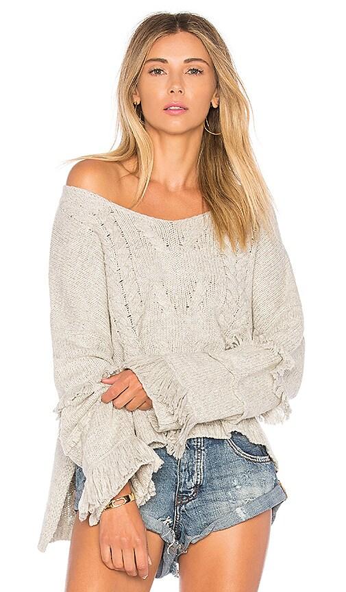 One Teaspoon Jethro Fringed Knit Sweater in Light Gray