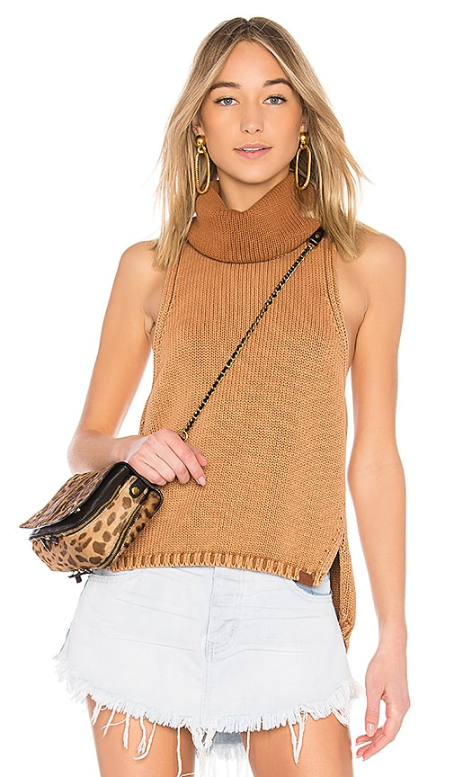 One Teaspoon New Paris Stonewashed Roll Neck Sweater in Brown