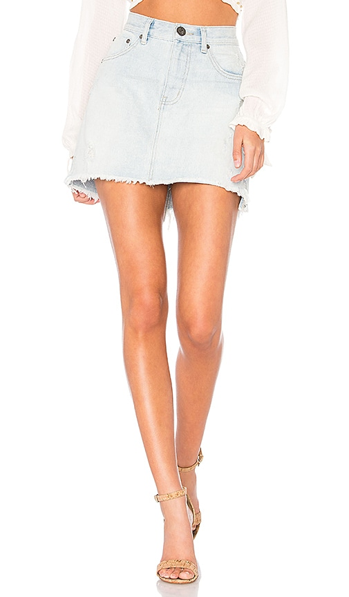 32\u201d Waist Faded Medium Wash High Waisted Denim Skirt.