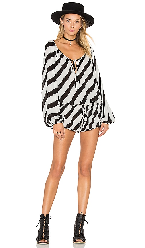 One Teaspoon Aloha Romper in Black & White