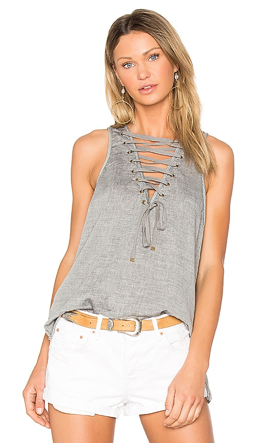 One Teaspoon The Dirty Work Lace Up Tank in Gray