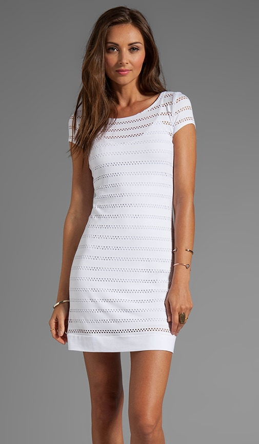 Eyelet Jersey Cap Sleeve Shift Dress