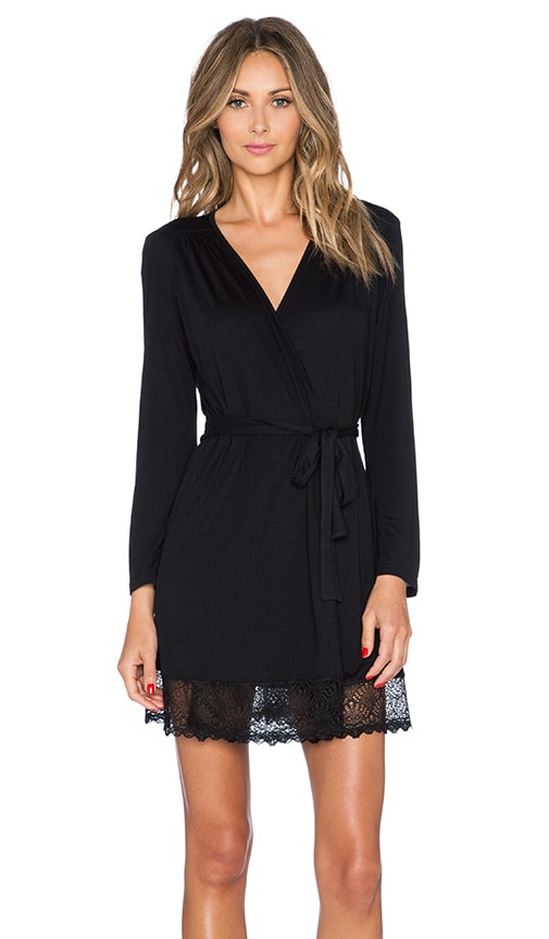 Venice Short Robe with Lace Hem
