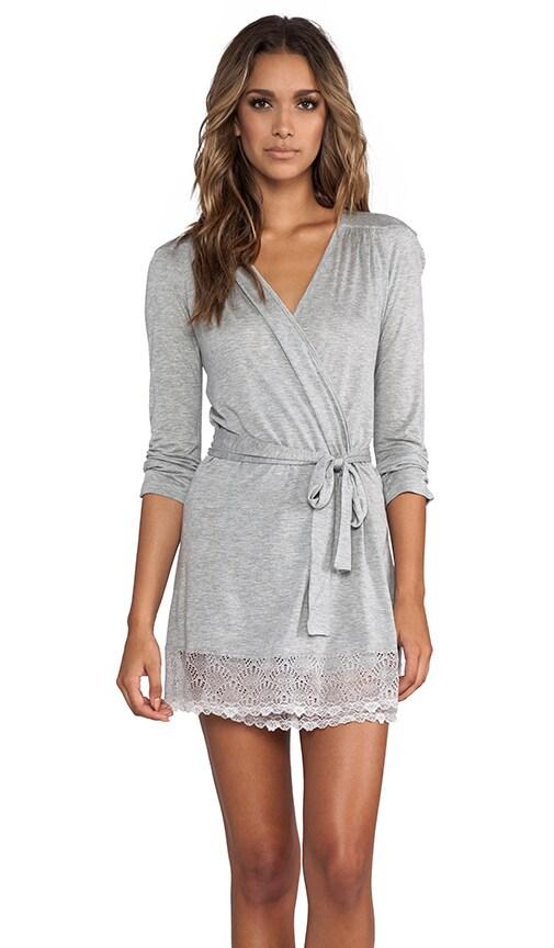 Venice Short Robe with Lace Hem