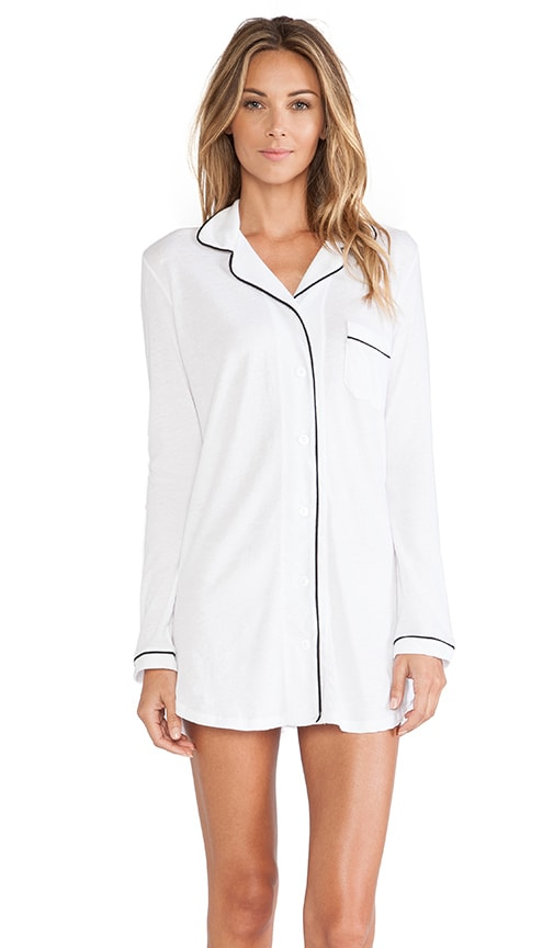 Only Hearts Organic Cotton Piped Button Front Night Shirt in White & Black